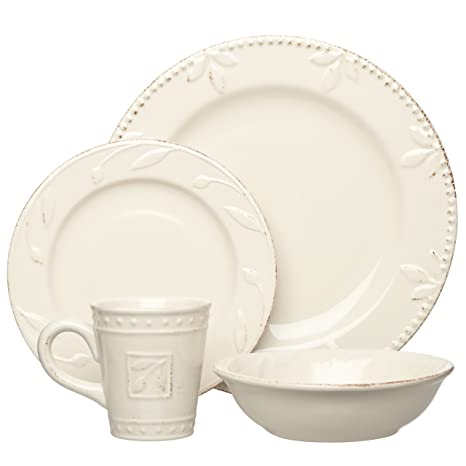 Signature Housewares Sorrento Collection Stoneware 4-Piece Dinnerware Set Ivory Antiqued Finish  sc 1 st  Amazon.com & Amazon.com | Signature Housewares Sorrento Collection Stoneware 4 ...
