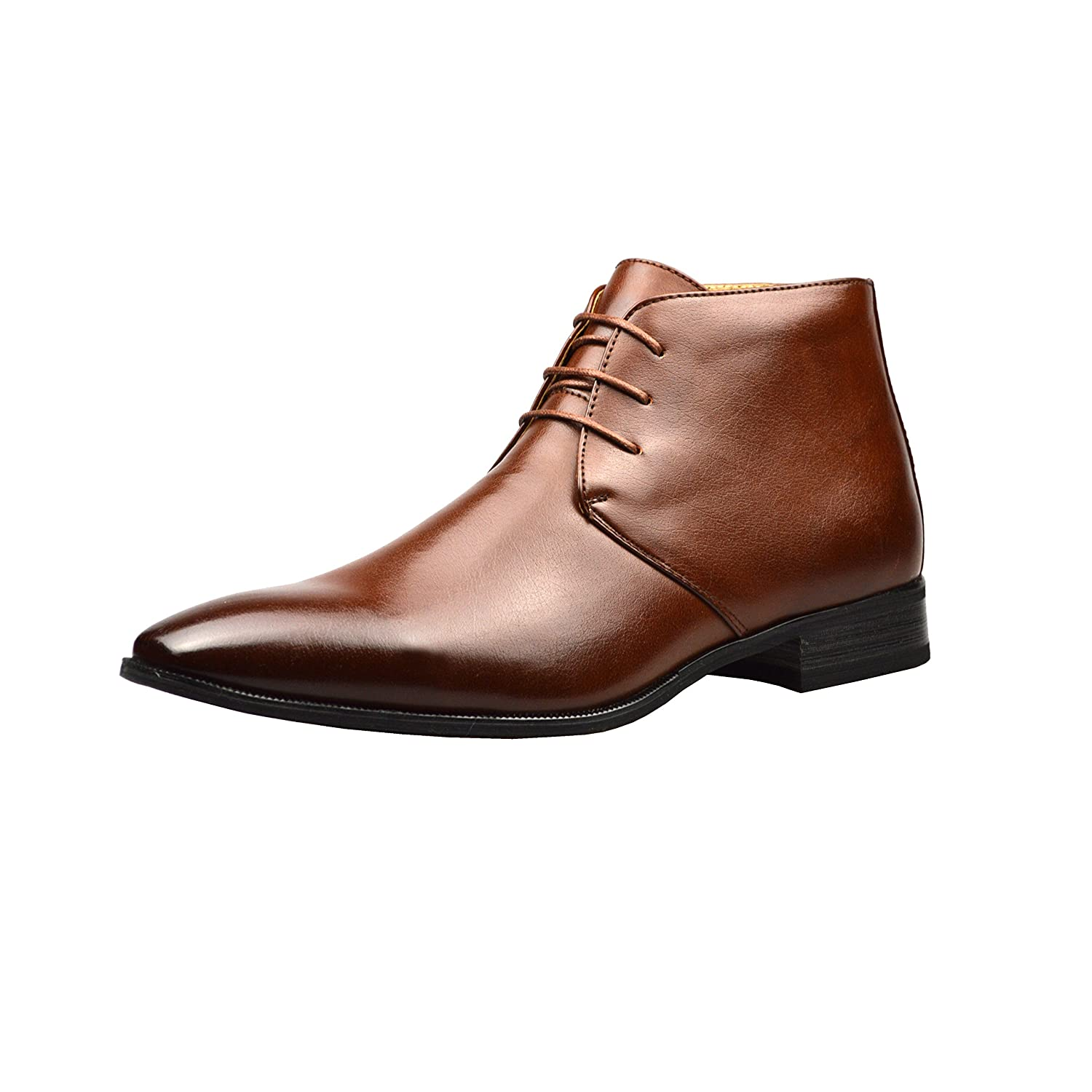 a3d294a461a ClassyDude Mens Brown Leather Smart Formal Casual Lace Up Boots Shoes UK  Size 6 7 8 9 10 11