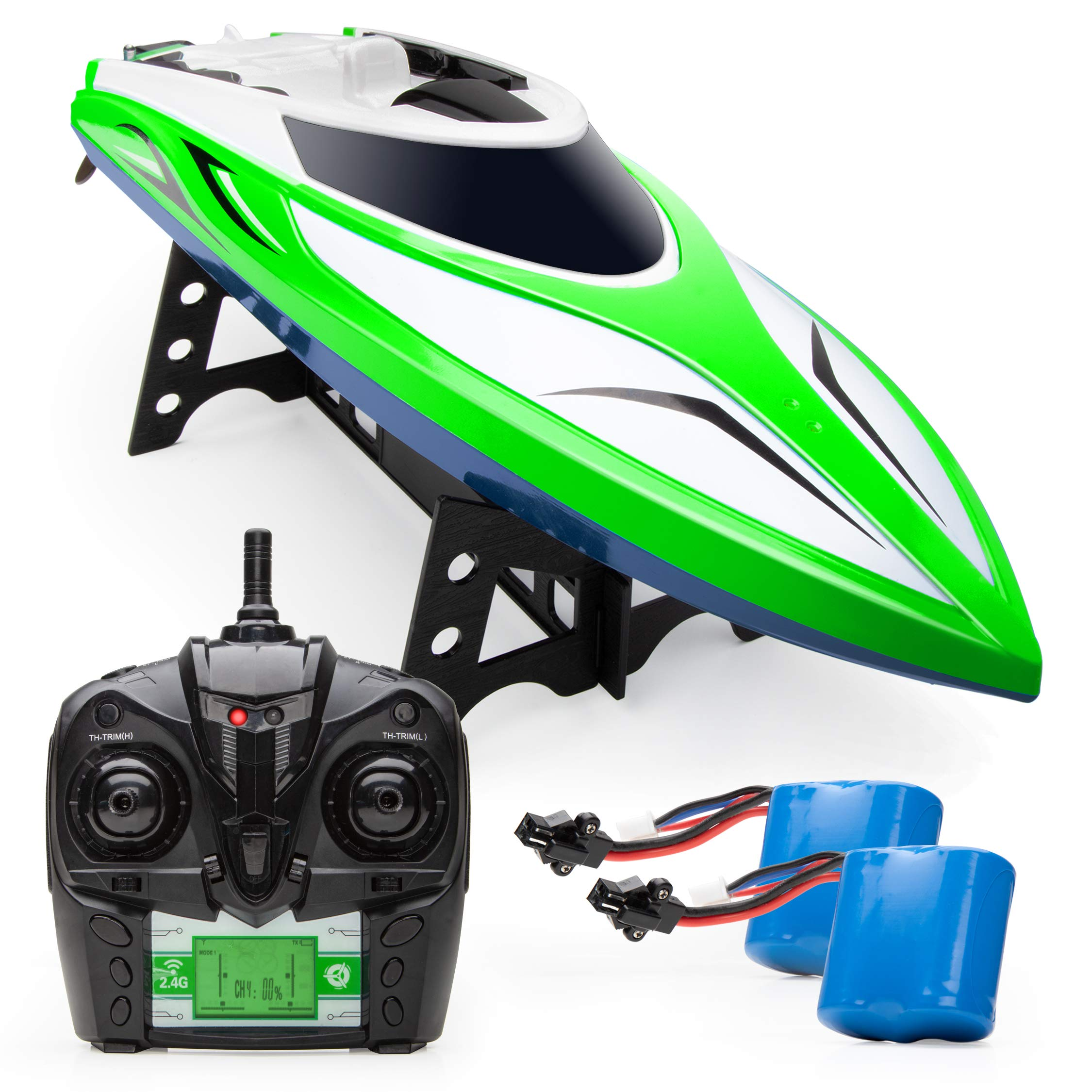 Force1 Velocity RC Boat - H102 Remote Control Boats for Pools and Lakes, 20+ mph High Speed Boat Toys (Green) by Force1