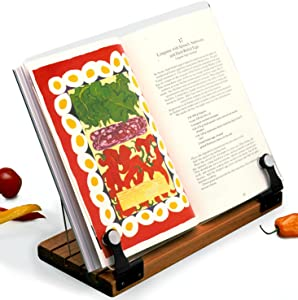 Deluxe Original Cookbook Holder - Acrylic Shield With Wooden Base and Black Hinges - Made in the USA