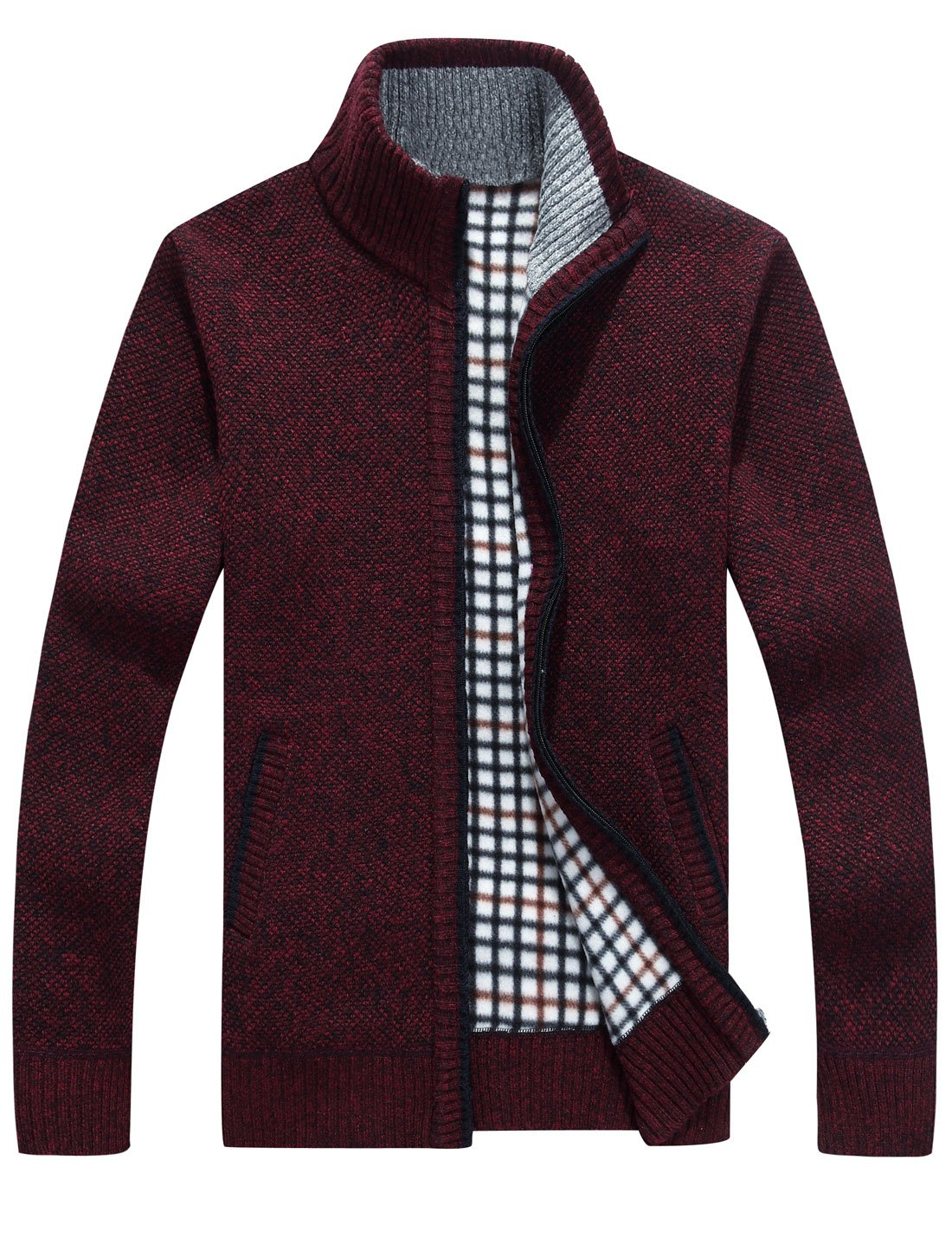 Yeokou Men's Slim Fit Zip up Casual Knitted Cardigan Sweaters with Pockets (Small, Wine Red) by Yeokou