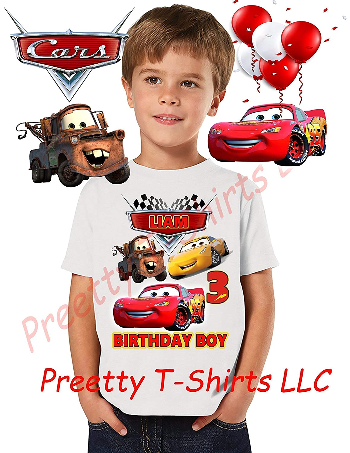 Personalized Look Who/'s Birthday with Lightning McQueen T-Shirt