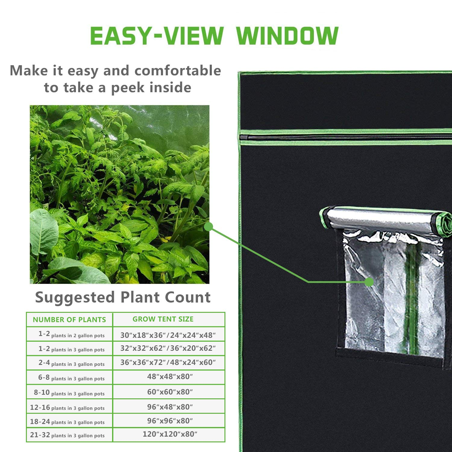 VIVOSUN 48 x48 x80 Mylar Hydroponic Grow Tent with Observation Window and Floor Tray for Indoor Plant Growing 4 x4