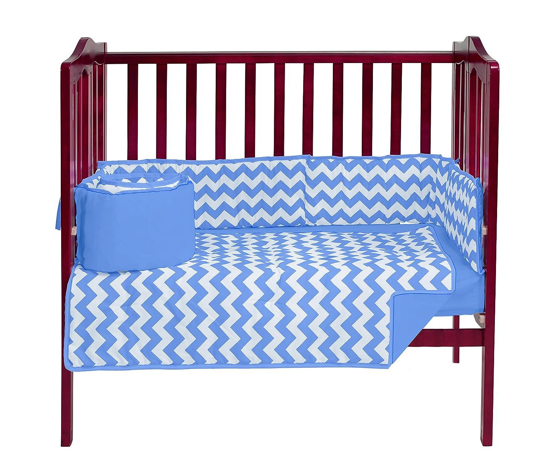 ベビードール寝具シェブロンミニベビーベッド/ポート-ベビーベッド寝具セット、ブルー   B016ZP649Y