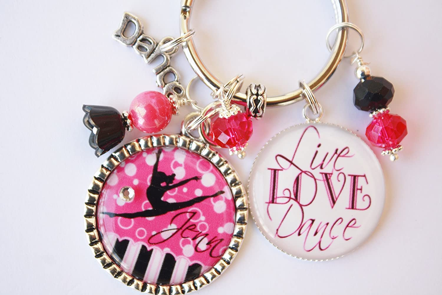 Love Heart Modern Dance Personalised Keyring
