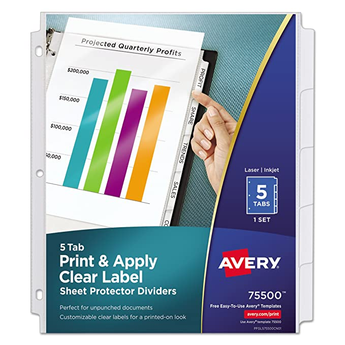 Amazon Avery Index Maker Clear Pocket Clear Label Dividers 5