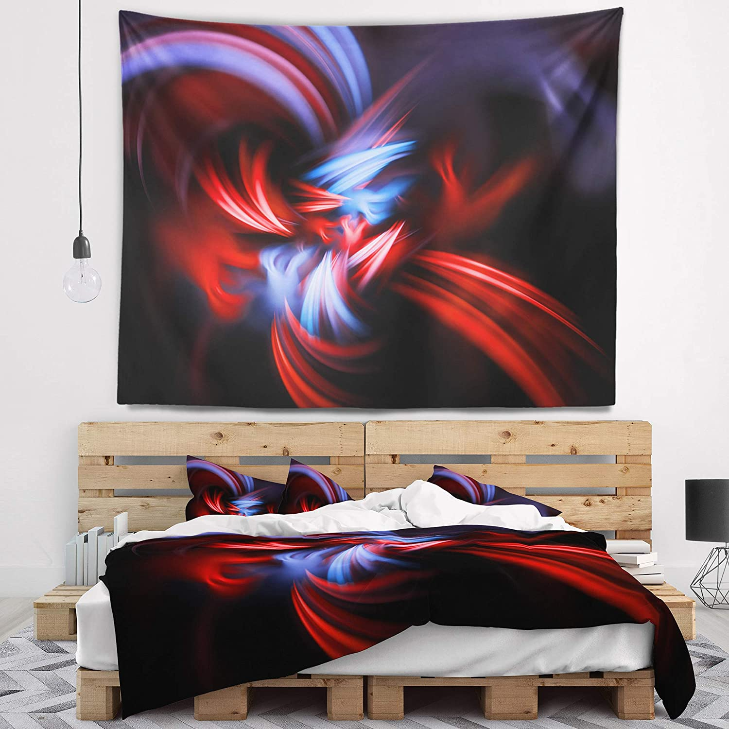 x 68 in Designart TAP9322-80-68  Fractal Red Connected Stripes Contemporary Blanket D/écor Art for Home and Office Wall Tapestry x Large in 80 in