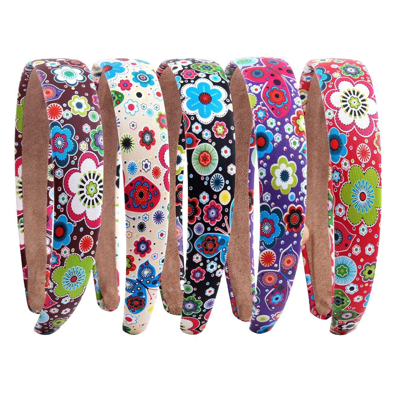 Candygirl 2.5 CM Alice Bands Set of 5 Butterfly Flower Boho Wide Headbands Woman Girl's Hair Bands for Daywear Festival