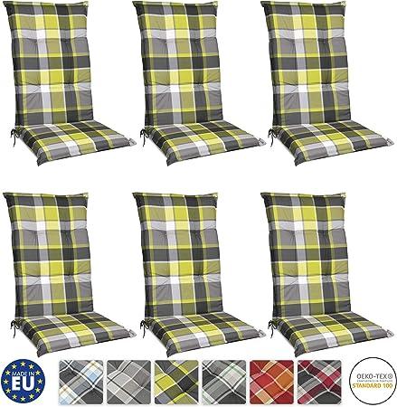 Beautissu Set de 6 Cojines para sillas de Exterior y jardín con Respaldo Alto Sunny GR Verde 120x50x6 cm tumbonas, mecedoras, Asientos cómodo Acolchado Resistente a Rayos UV: Amazon.es: Hogar