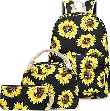 Mochila Escolar Girasol Niña Infantil Adolescentes Mochila con Bolsa para Almuerzo y Estuche de Lápices (Amarillo): Amazon.es: Equipaje