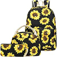 Mochila Escolar Girasol Niña Infantil Adolescentes Mochila con Bolsa para Almuerzo y Estuche de Lápices (Amarillo)