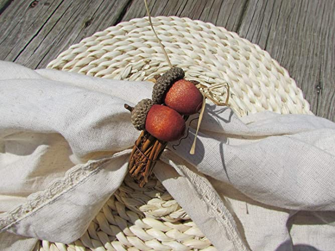 Fall Acorn Napkin Rings Holders for Autumn Party and Thanksgiving Table Decoration