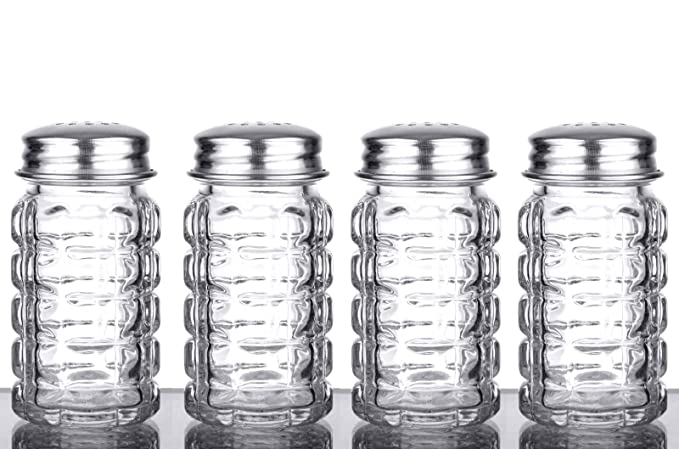 Heavy Duty Stainless Steel Lid By Azi 4RSP2SS 1.5 oz Each 4pc Set of RETRO Style Salt /& Pepper Shakers