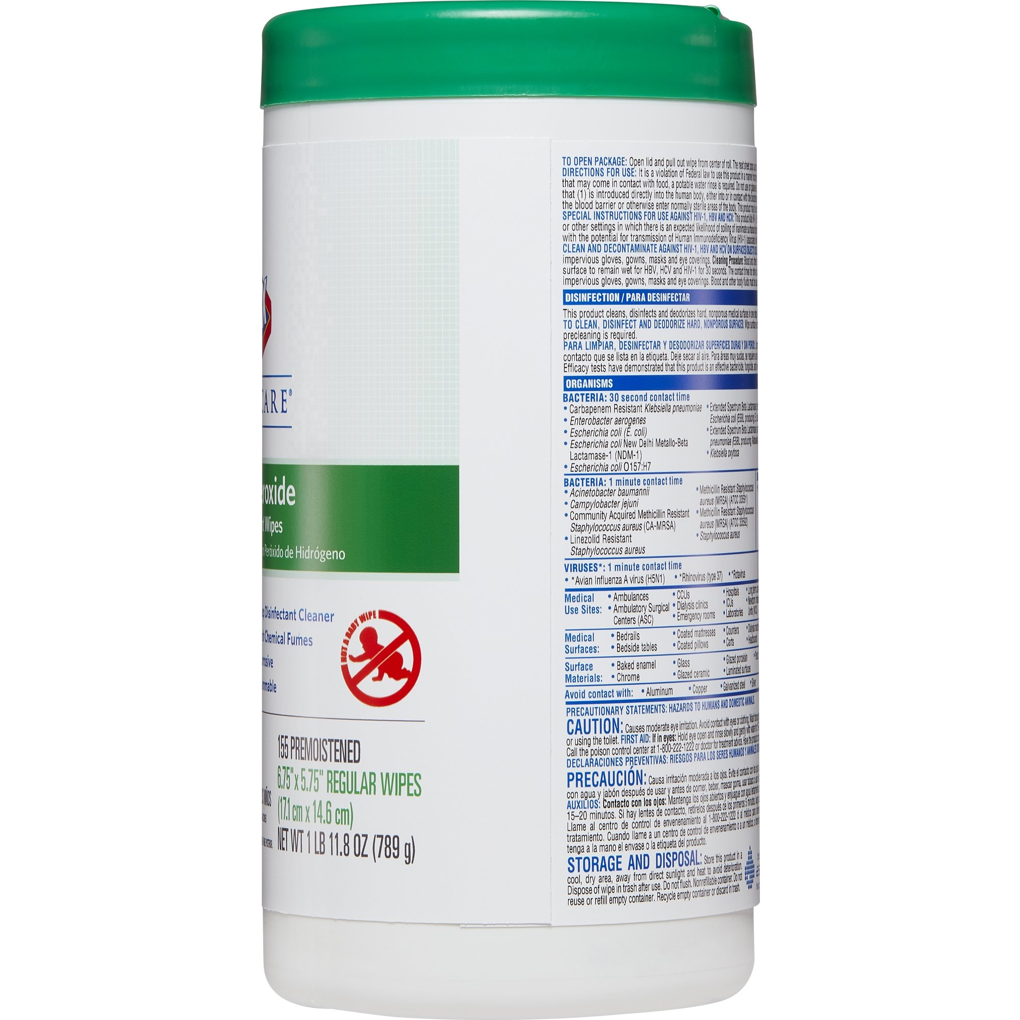 Clorox Healthcare Hydrogen Peroxide Cleaner Disinfectant Wipes, 155 Count Canister (Pack of 6) by Clorox (Image #5)