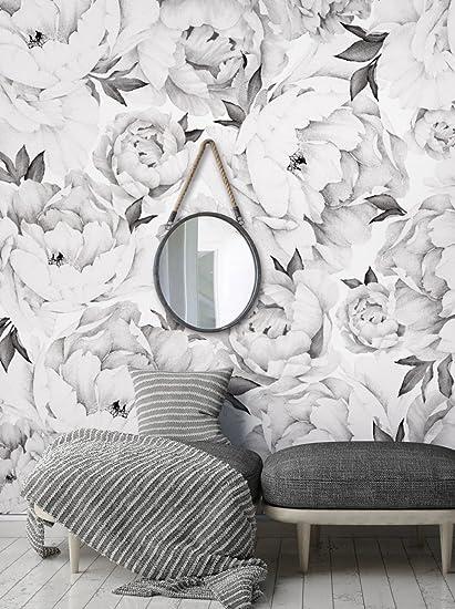 Peony flower mural wall art wallpaper black white by simple peony flower mural wall art wallpaper black white by simple shapes mightylinksfo