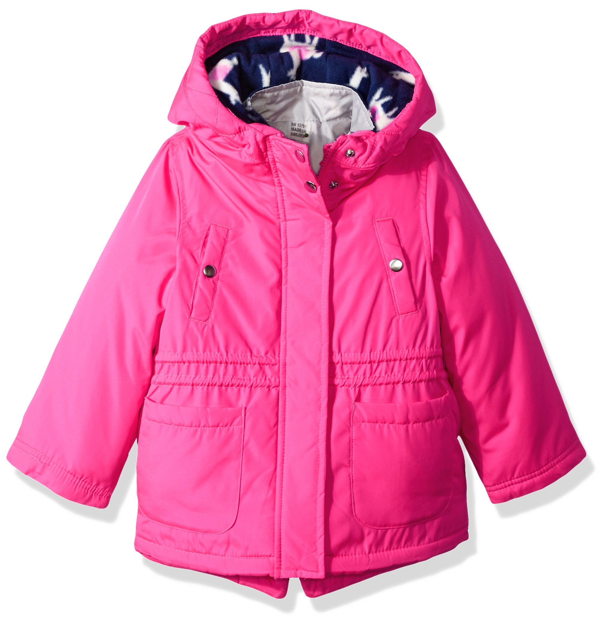 Carter's Little Girls' 4 in 1 Heavyweight Systems Jacket, Pink Llamas, 5/6