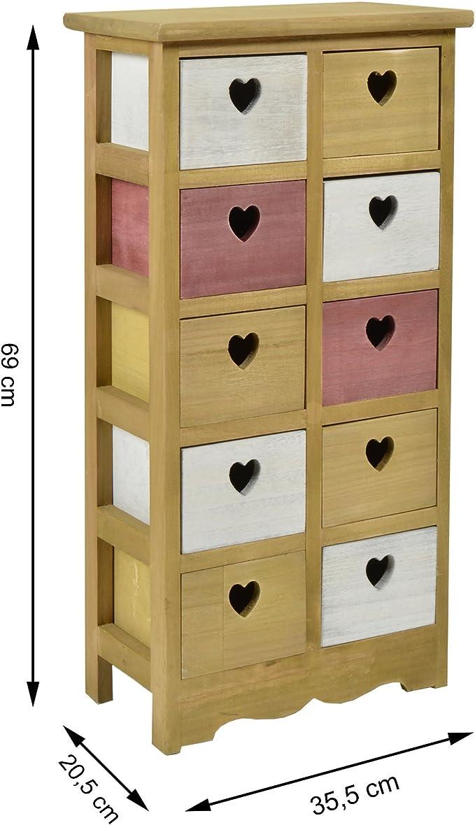 ts-ideen cómoda cajonera 10 cajones estanteráa mueble para ninos: Amazon.es: Hogar