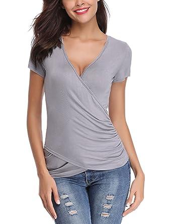 b143102562521 Tee Shirt Femme Col V Sexy Chic Manche Courte Slim Top Haut Blouse  Extensible Été Casual