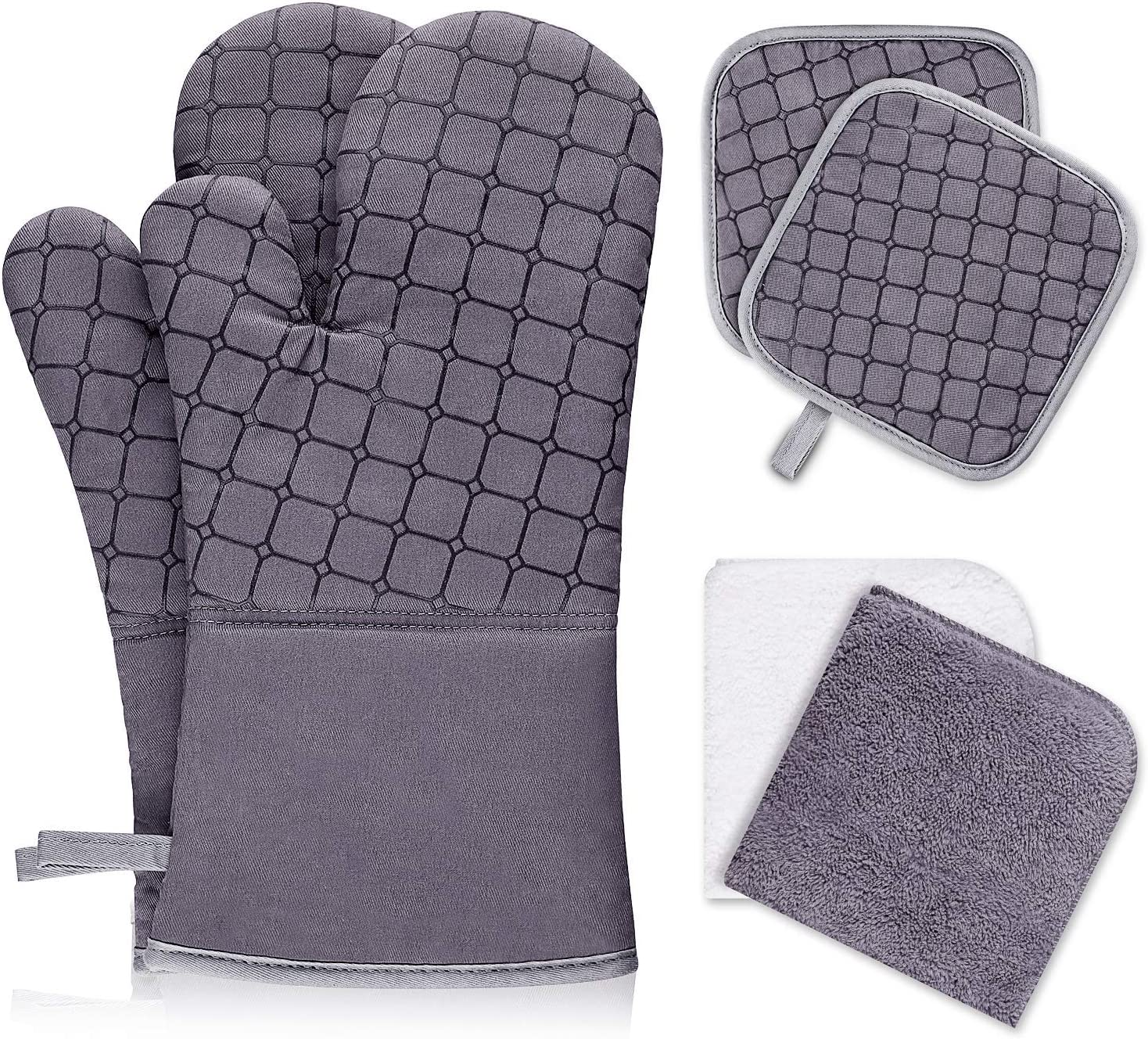IXO 6Pcs Oven Mitts and Pot Holders, 500℉ Heat Resistant Oven Mitts with Kitchen Towels Soft Cotton Lining and Non-Slip Surface Safe for Baking, Cooking, BBQ (Grey)