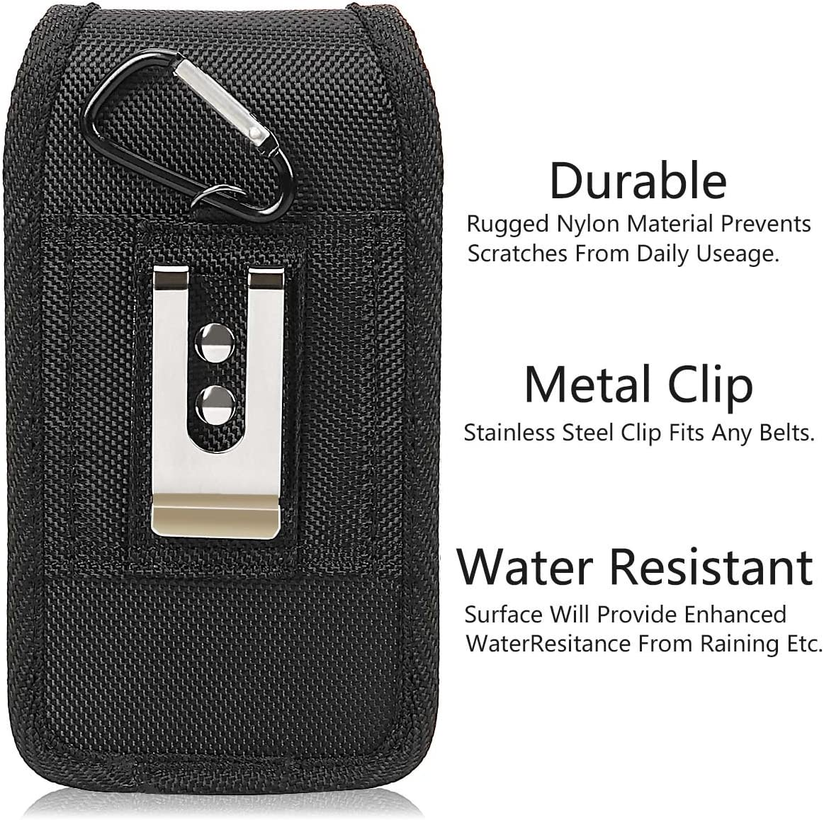 IronSeals 2 Pack AQ Durable Waterproof 1000D Nylon Pouch Waist Bag Outdoor Hook /& Loop Closure Pocket for Smartphone with D-Ring and Pen