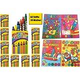 10 Set Malbücher Malen nach Zahlen Wachsmalstifte Malbuch 148x105mm Geburtstag Hochzeit Mitgebsel Geschenk für Kinder