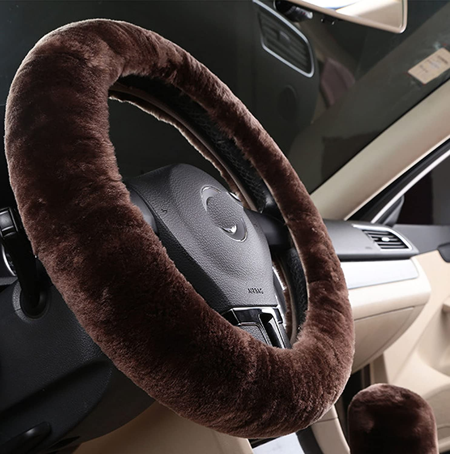 U/&M Car Stretch-on Steering Wheel Cover Soft Australian Natural Sheepskin Luxurious Wool Vehicle Non-slip Wheel Cushion Protector Available for 35cm-43cm