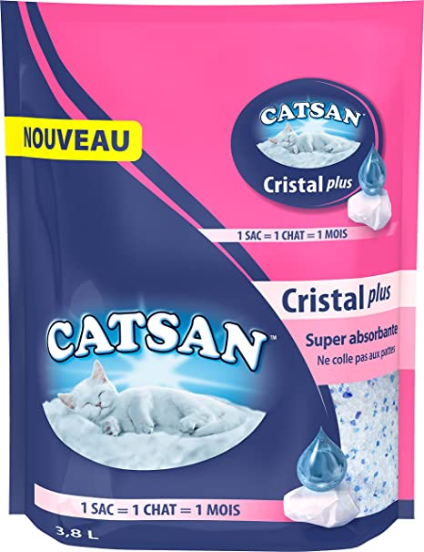 Catsan Cristal Plus Arena de Cristal de Sílice para Gato – 2 Meses de Uso (
