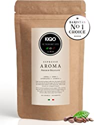KIQO Aroma Espresso aus Italien | in schonenden Kleinstchargen geröstet | säurearm und bekömmlich | 65% Arabica & 35% Robusta Bohnen (250g - ganze Bohnen)