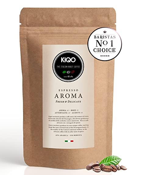 KIQO Aroma Espresso | excelente café tostado premium de Italia | tostado suave en lotes pequeños