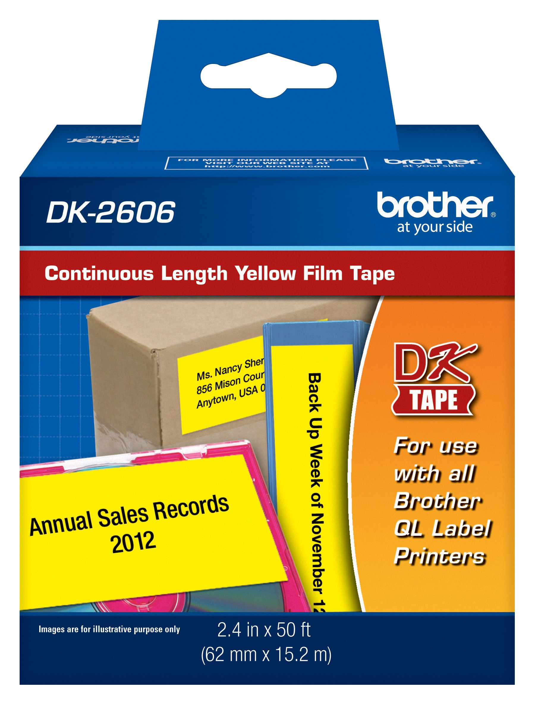 Brother Genuine DK-2606 Continuous Length Film Tape, 2.4 in x 50 ft (62 mm x 15.2 m) Black on White, Retail Packaging by Brother