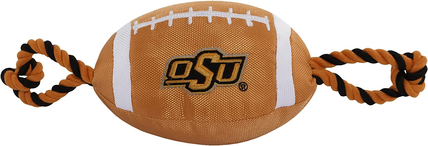 Pets First NCAA Oklahoma State Cowboys Football Dog Toy, Tough Quality Nylon Materials, Strong Pull Ropes, Inner Squeaker, Collegiate Team Color