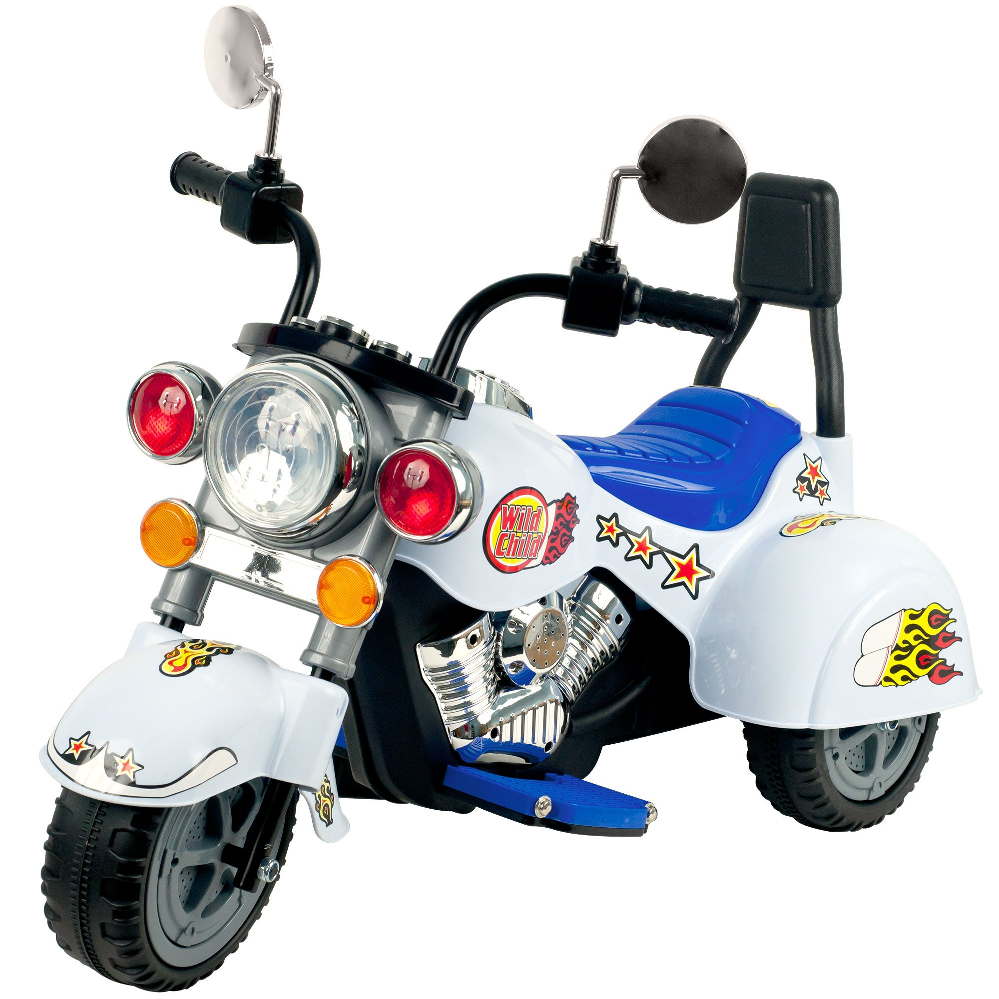Ride on Toy, 3 Wheel Trike Chopper Motorcycle for Kids by Lil' Rider - Battery Powered Ride on Toys for Boys and Girls, Toddler and Up - White