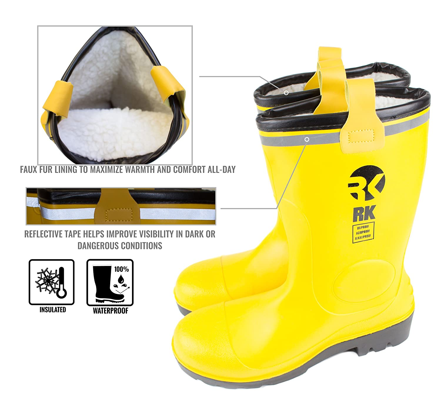 RK Mens Insulated Waterproof Fur Interior Rubber Sole Winter Snow Cold Weather Rain Boots