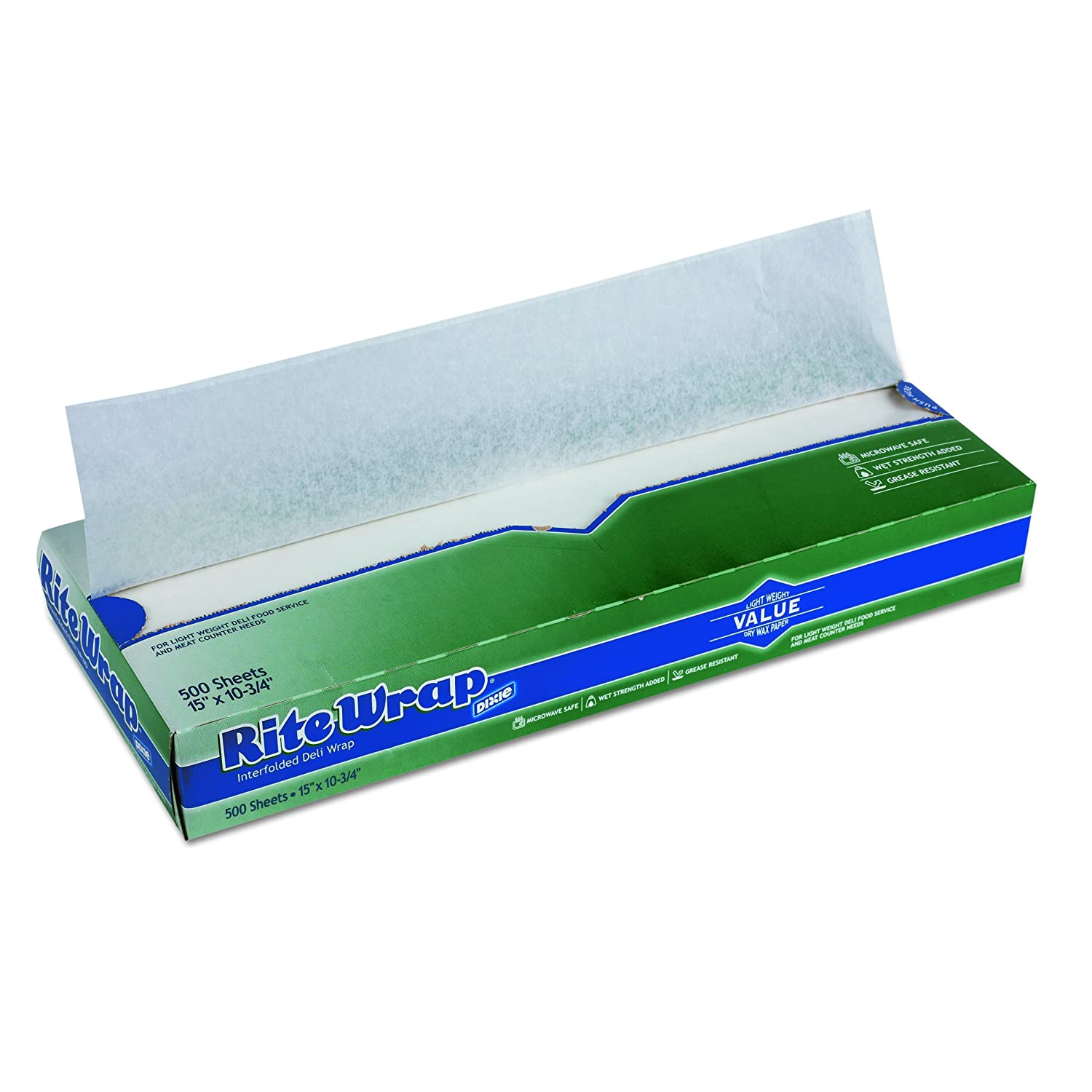 "Rite-Wrap, RW156, White, Light-Weight Interfolded Dry Wax Deli Paper 15"" Width x 10.75"" Length by GP PRO (Georgia-Pacific) (Case of 12 Boxes, 500 Sheets Per Box)"