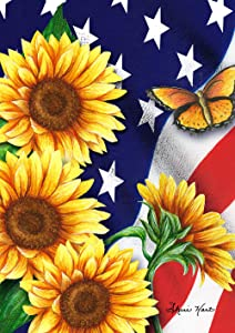 Toland Home Garden 1012204 American Sunflowers 28 x 40 Inch Decorative, Patriotic Flowers and Butterflies House Flag