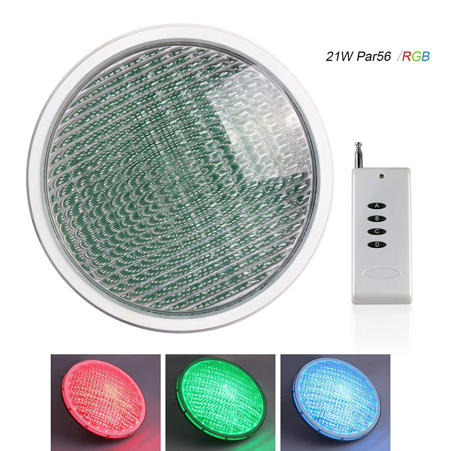 TOPLANET RGB LED Pool Lights Underwater Par 56 LED Swimming Pool Lights 21W Waterproof IP68 12v Colors Changing with Remote Control for Indoor Outdoor Simming Pool Pond or Aquarium by TOPLANET