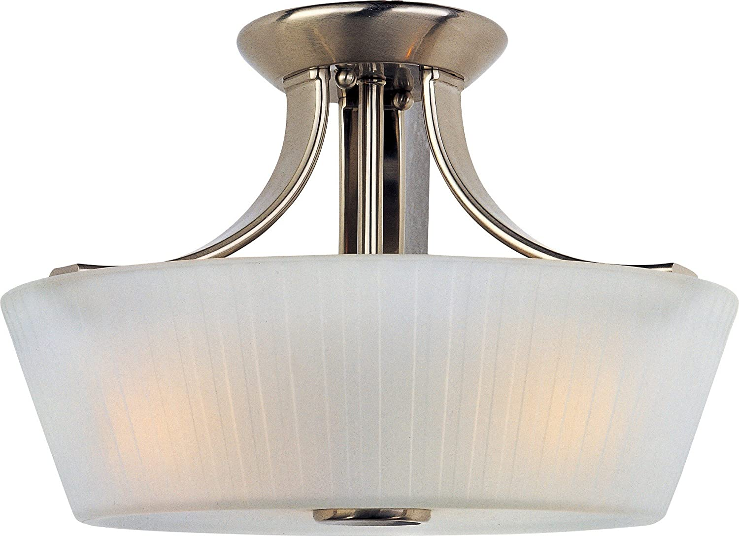 B003A46N7M Maxim 21501FTSN Finesse 3-Light Semi-Flush Mount, Satin Nickel Finish, Frosted Glass, MB Incandescent Incandescent Bulb , 60W Max., Dry Safety Rating, Standard Dimmable, Hemp Rope Shade Material, Rated Lumens 81Brb3NTlRL.SL1500_
