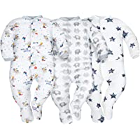 Sibinulo Niño Niña Pijama Bebé Pelele de Algodón- Tamaños 56-74 - Pack de 3