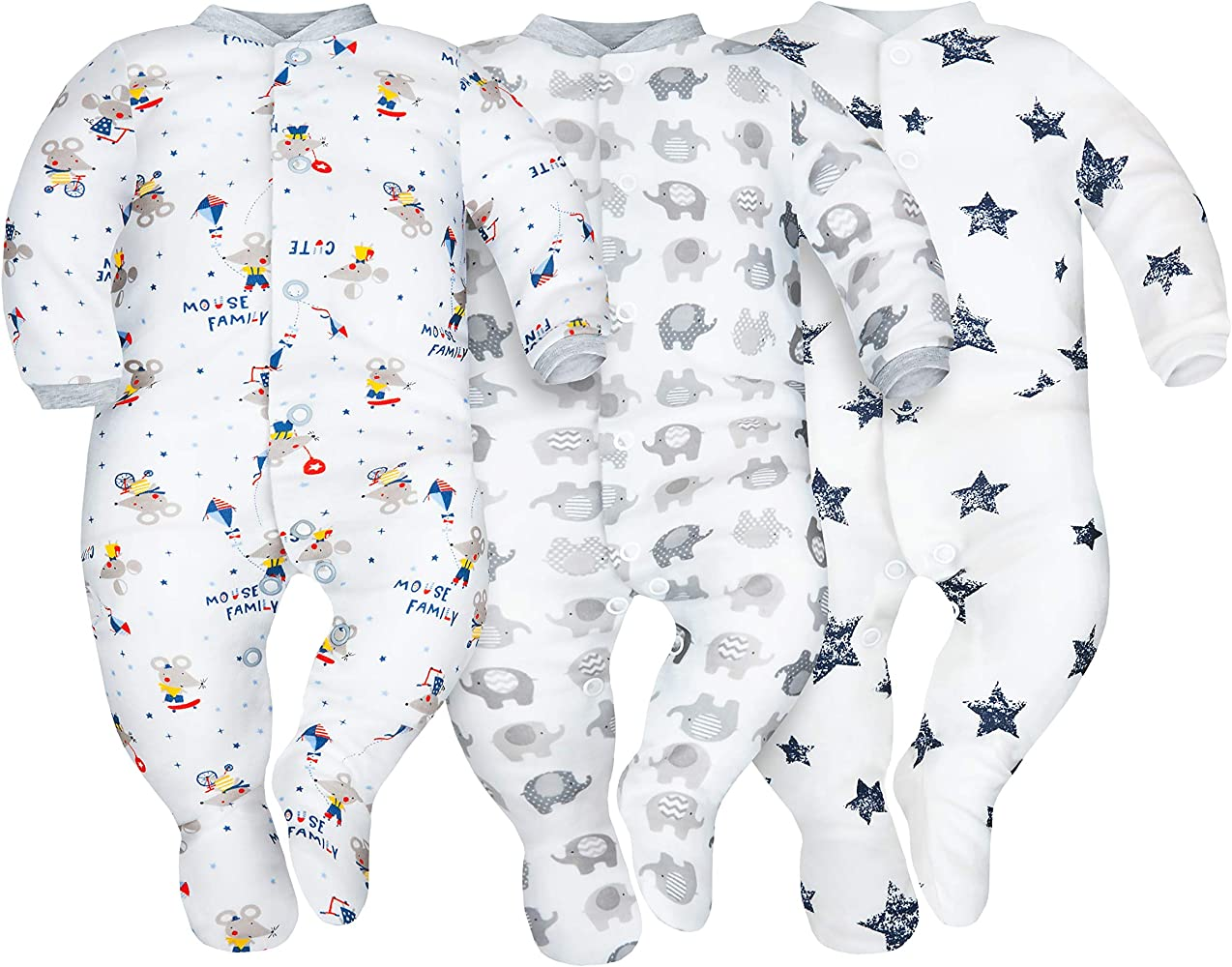Sibinulo Niño Niña Pijama Bebé Pelele de ABS Pack de 3 Estrellas, Elefantes Grises y Ratones 80(9-12 Meses): Amazon.es: Ropa y accesorios