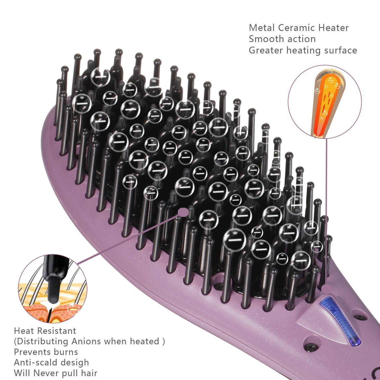SweetLF Cepillo Alisador de Pelo Profesional Cepillo Iónico de Masaje Styling Brush Plancha para el Pelo Antiestático Desenredante con Pantalla LCD ...