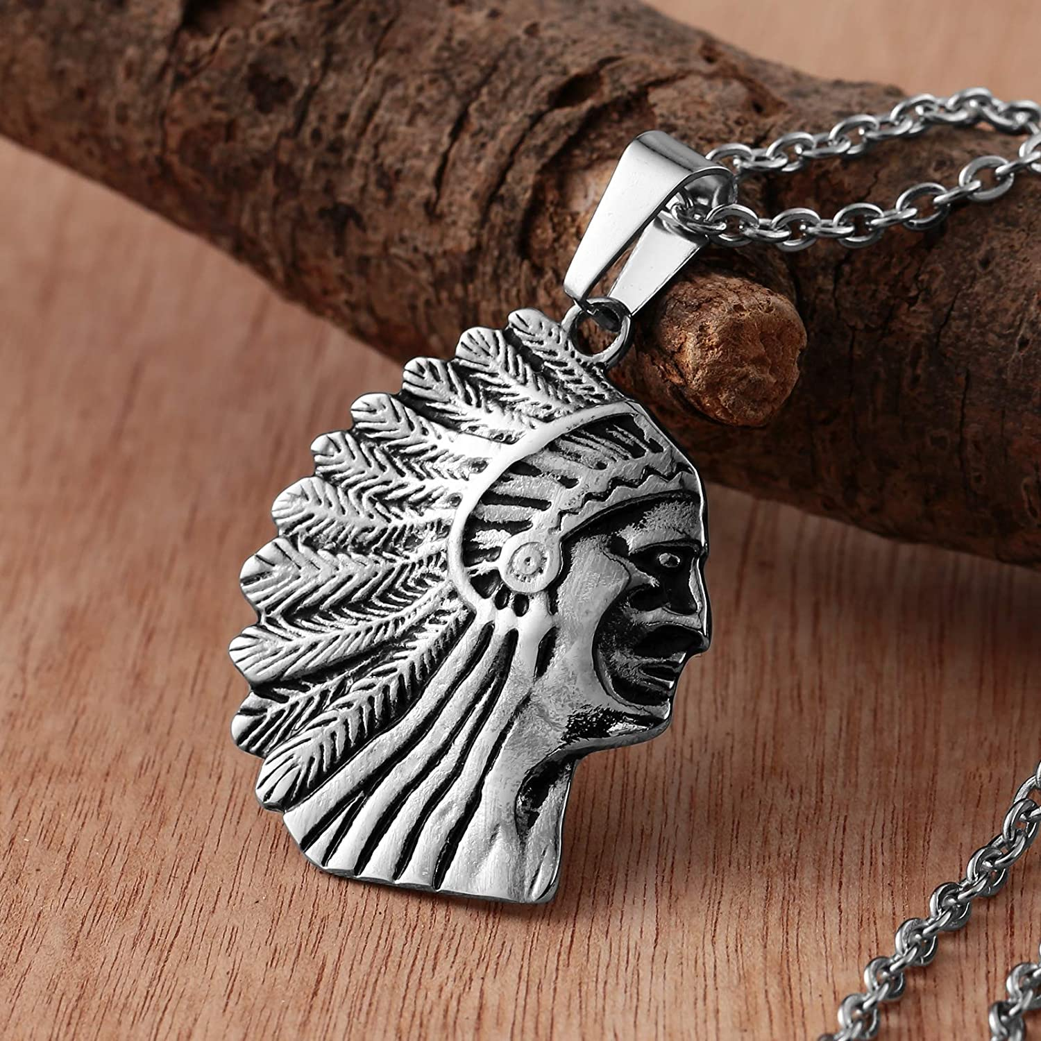 Beydodo Stainless Steel Necklace Men Native American Indian Chief Pendant Gothic Necklace Men
