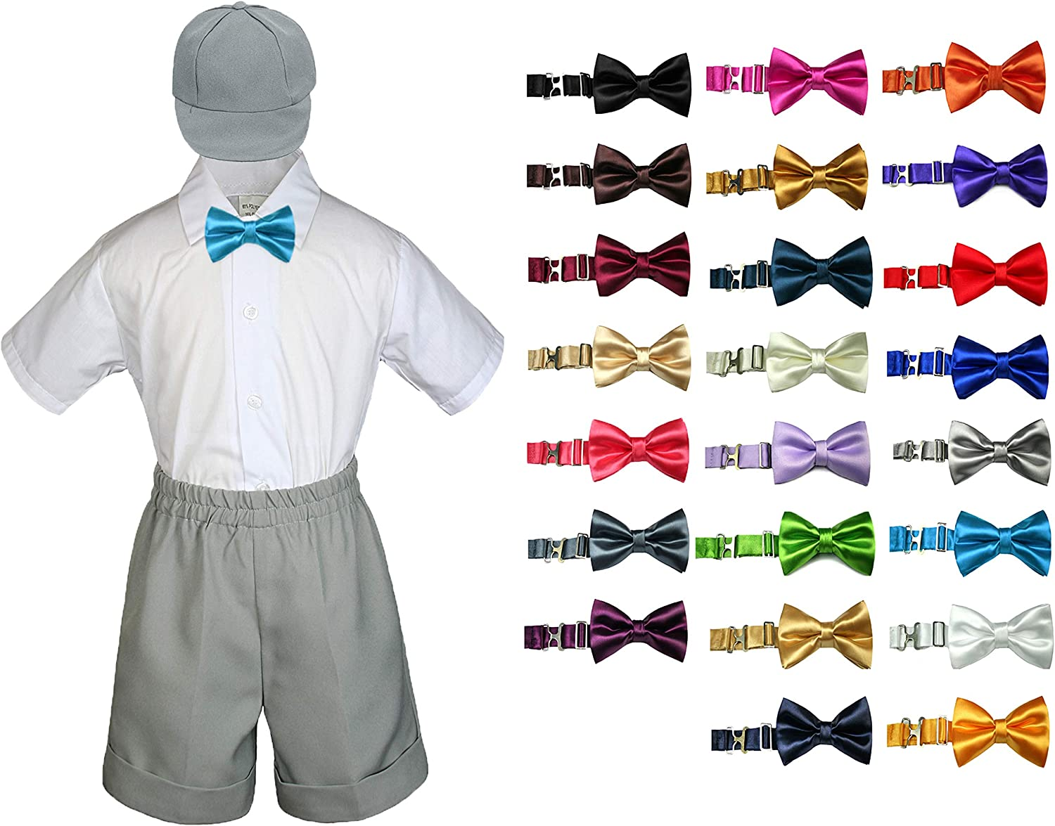 MILLTEX 4 Pieces Formal Party Wedding Color Satin Bow tie Shirt W//Hat Brown Shorts Set New Born Baby Boy Toddler Sm-4T