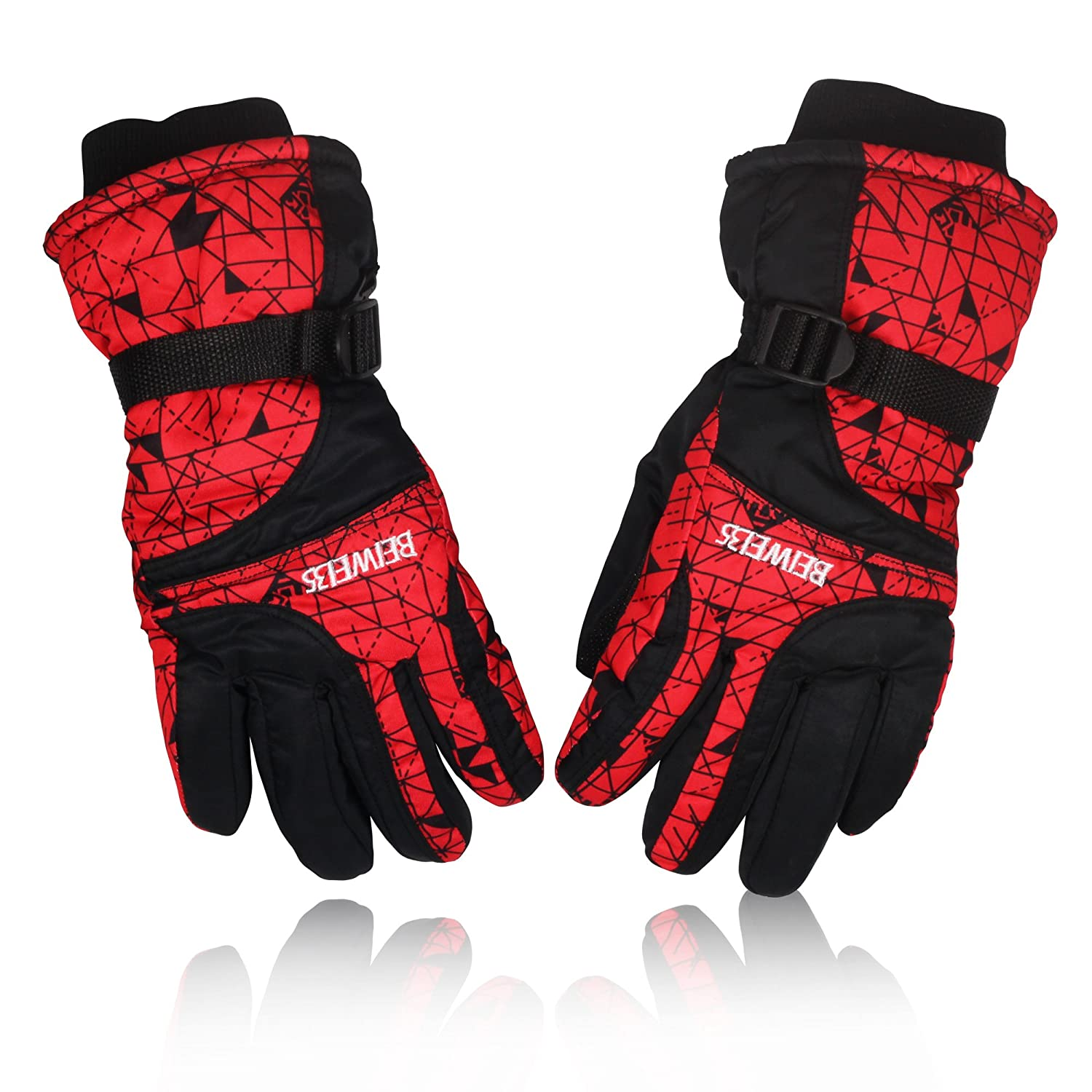 YUEDGE Men's And Women's Windproof Snowproof Ski Snowboard Motorcycle Gloves Winter Snow Warm Gloves YUEDGE-Gloves02-Red