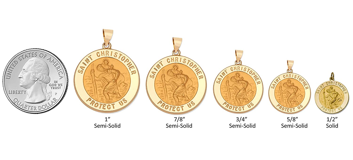 ITI Findings Genuine 14K Yellow Gold Round Saint Christopher Medal