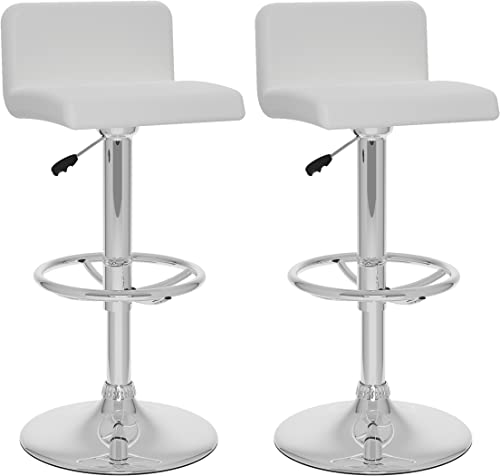 CorLiving Low Back Adjustable Bar Stool, White Leatherette, Set of 2