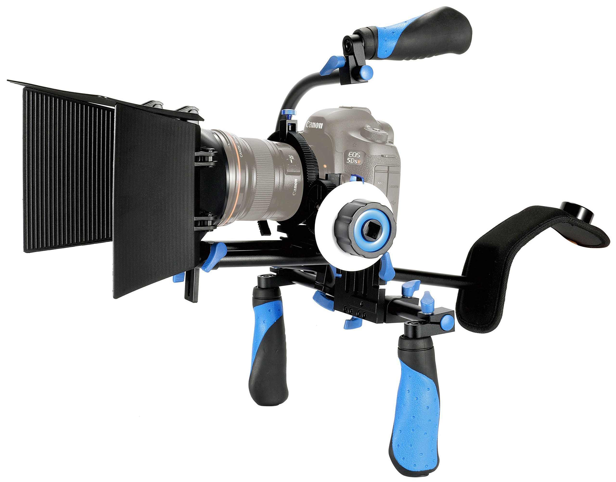 MARSRE DSLR Shoulder Rig Film Making Kit with Follow Focus, Matte Box, C-shape Mounting Bracket and Top Handle For All DSLR Video Cameras and DV Camcorders by MARSRE
