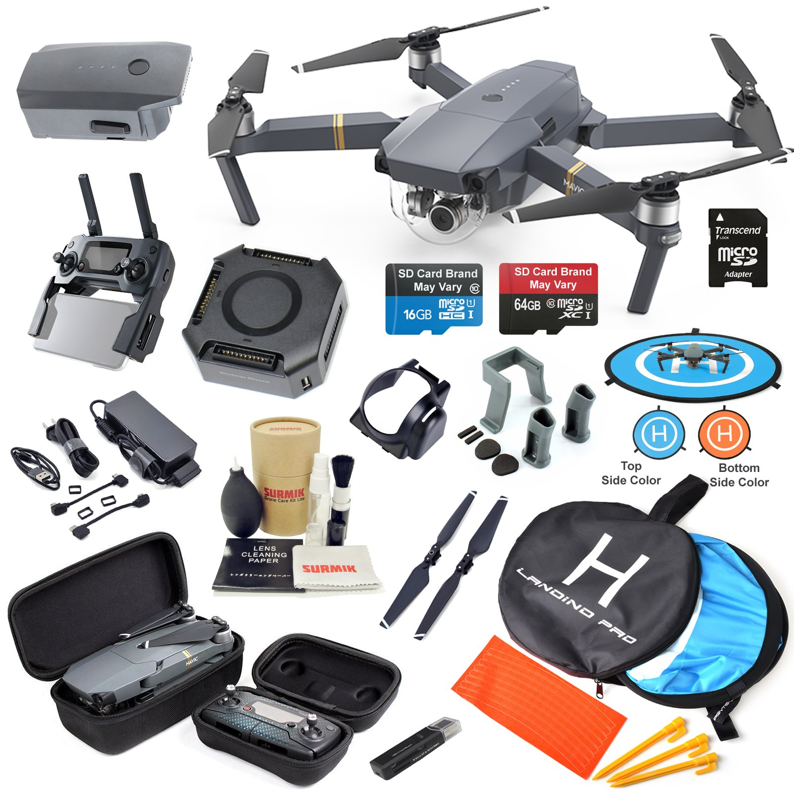DJI Mavic PRO Drone Quadcopter with 2 Batteries, 4K Professional Camera Gimbal Bundle Kit with MUST HAVE Accessories by DJI