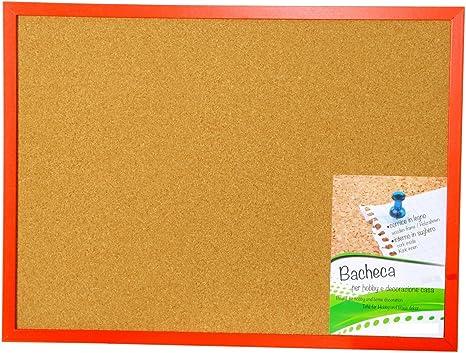 Pizarra/tablón de notas, de corcho, para chinchetas, marco de madera roja, cm 60 x 45: Amazon.es: Hogar