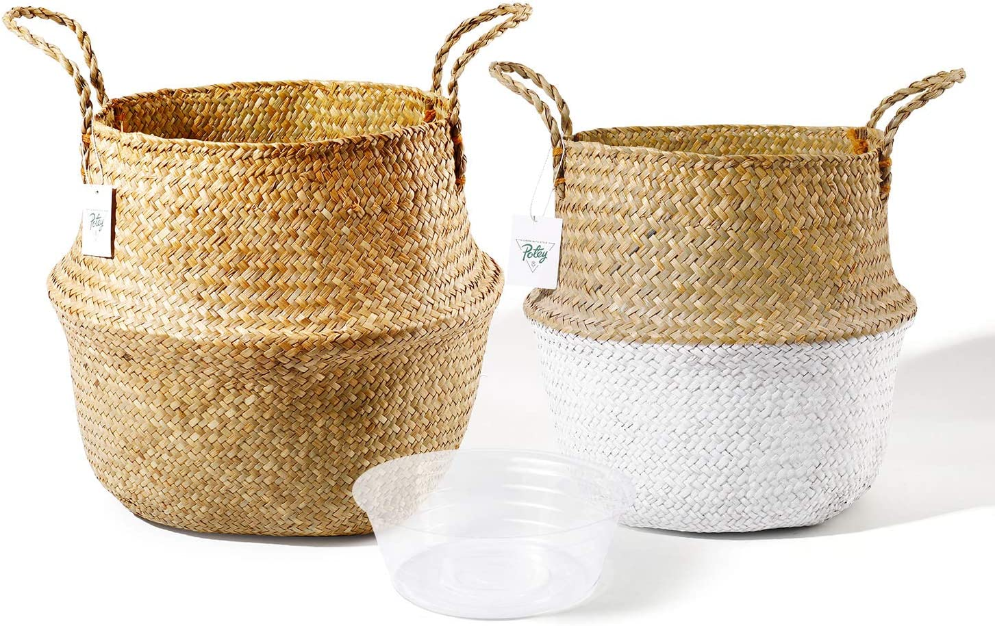POTEY 720202 Seagrass Plant Basket Set of 2 - Hand Woven Belly Basket with Handles, Large Storage Laundry Picnic Plant Pot Cover Home Decor & Woven Straw Beach Bag (Large+Extra Large, Original+White)