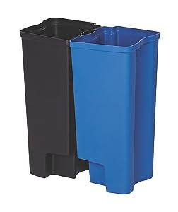 Rubbermaid Commercial Dual Liner Set for Slim Jim Resin Step-On Wastebasket, Dual Liner for Front-Step Wastebaskets, 8-Gallon, Blue/Black (1883627)